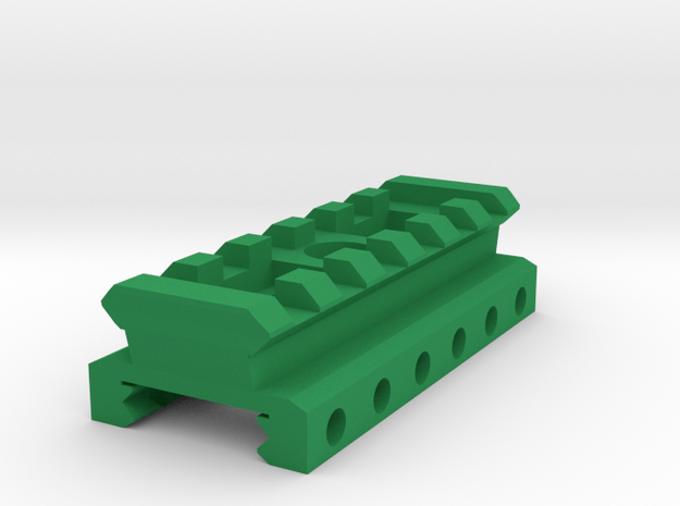 Nerf Rival Rail to Picatinny Rail Adapter (6 Slots in Green Processed Versatile Plastic