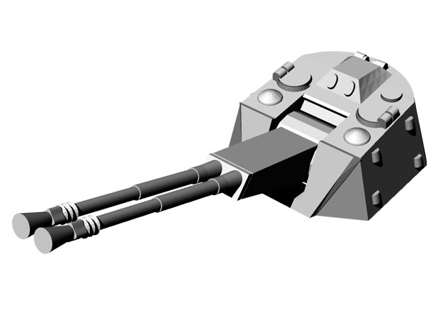 1/144 5.5cm Flakzwilling turret for Flakpanther  in White Natural Versatile Plastic