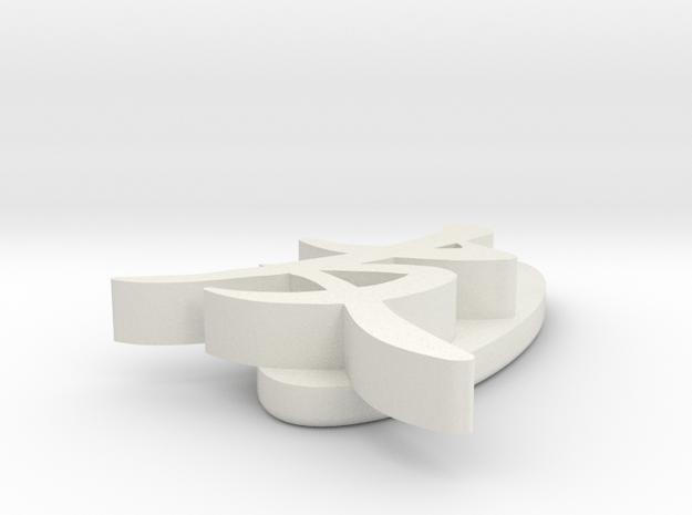 'Friend' pendant in White Natural Versatile Plastic