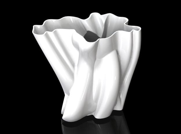Vase 012 in White Natural Versatile Plastic