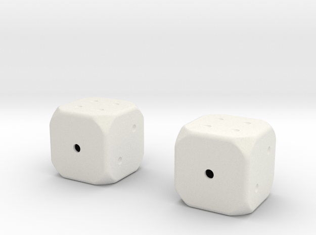Weighted Die in White Natural Versatile Plastic