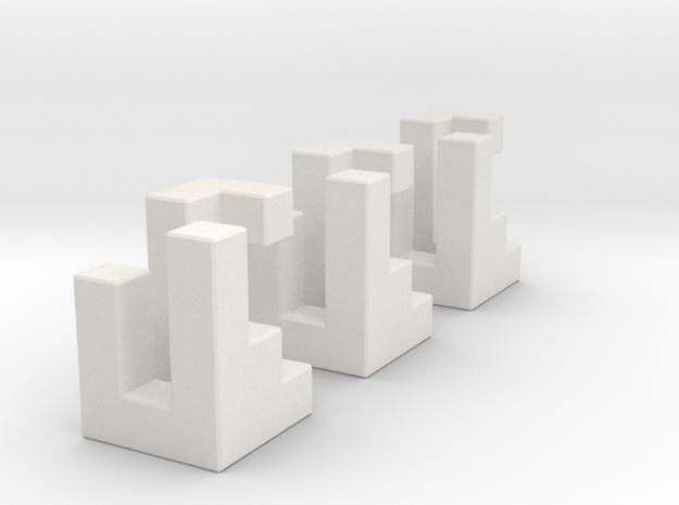 Triaxial (2.4cm) in White Natural Versatile Plastic