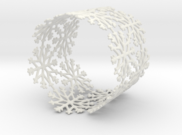 Snowflake Tea Light Ring (bigger) in White Natural Versatile Plastic