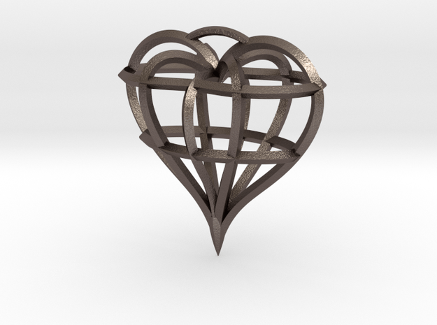 Heart of love in Polished Bronzed Silver Steel