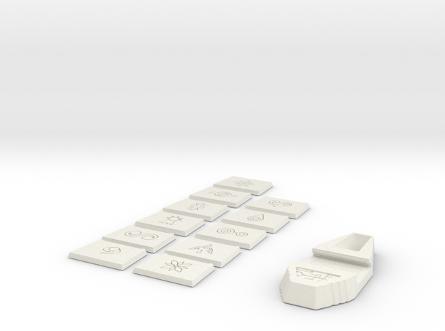 Tag and Crests in White Natural Versatile Plastic