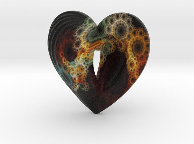 Fractal Heart Bauble 2 in Full Color Sandstone