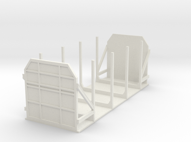 CIE 2 Axle Timber Wagon OO Scale  in White Natural Versatile Plastic
