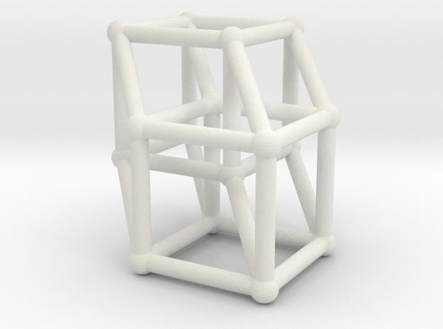 8-cell (Hypercube) in White Natural Versatile Plastic