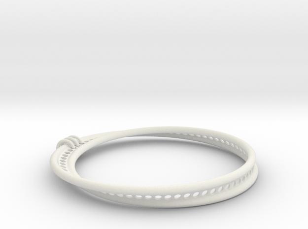 Möbius Snake Bracelet (Small) in White Natural Versatile Plastic
