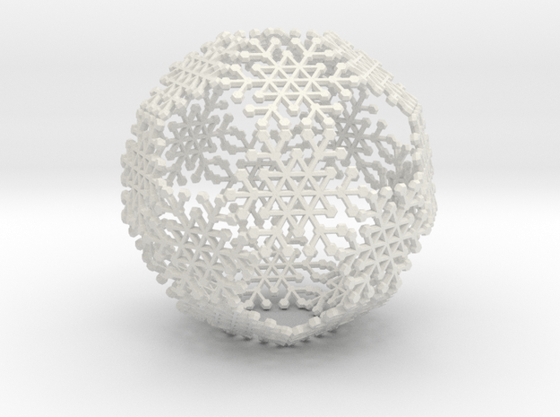 Snowflake #6 Ball Ornament in White Natural Versatile Plastic
