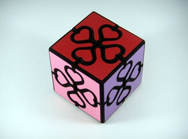 Valentine Cube Puzzle in White Natural Versatile Plastic
