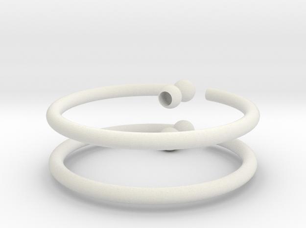 Glass Charm 2 Rings in White Natural Versatile Plastic