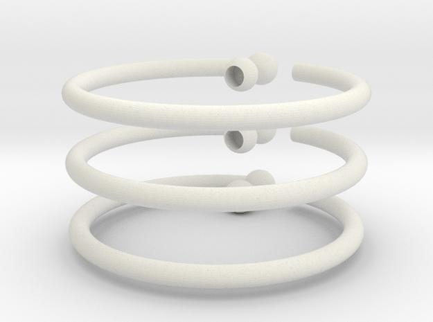 Glass Charm 3 Rings in White Natural Versatile Plastic