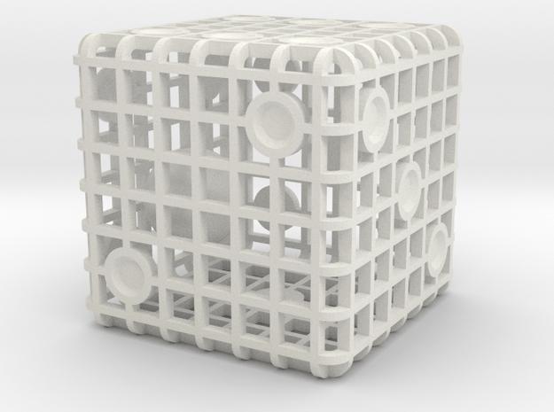 Steel Cage Die #1 in White Natural Versatile Plastic