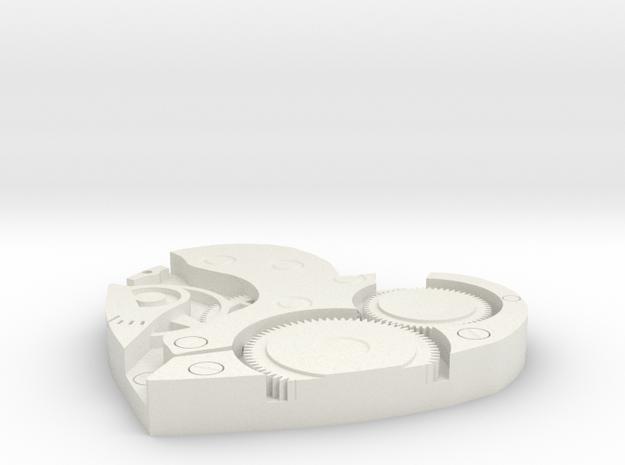 Heart Clock in White Natural Versatile Plastic