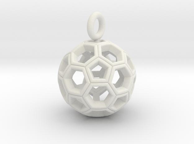 Soccer Ball Pendant /Keyring in White Natural Versatile Plastic