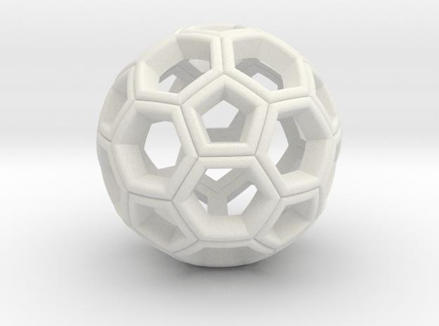 Soccer Ball Pendant in White Natural Versatile Plastic