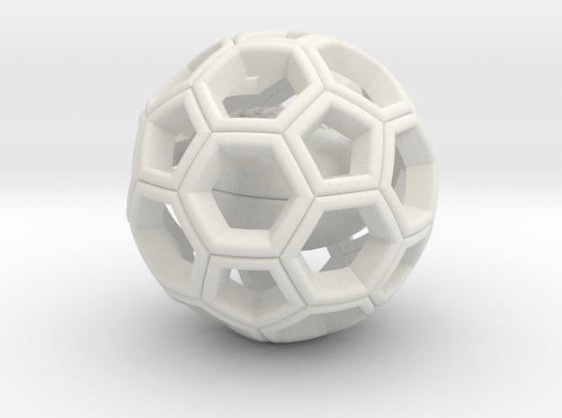 Soccer Ball  with American Football Inside #2 in White Natural Versatile Plastic