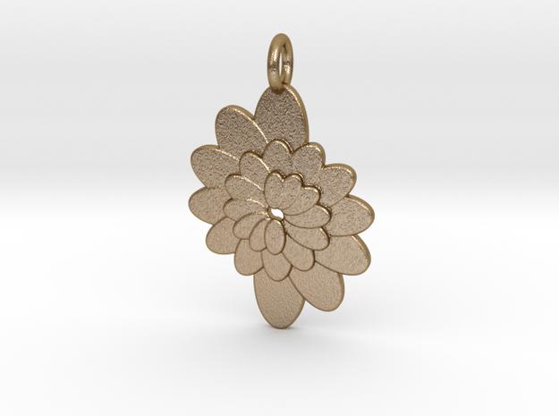 Spiral Flower 1 in Polished Gold Steel