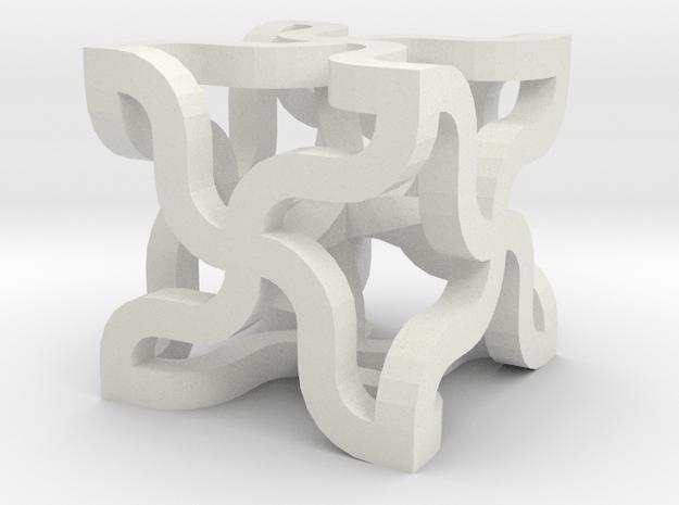 TwinCurlCornerCross in White Natural Versatile Plastic