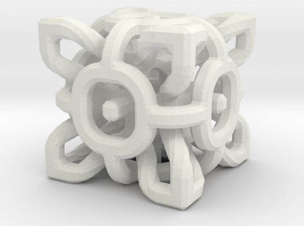 Complex Cube 2cm in White Natural Versatile Plastic