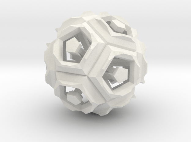 Dodecahedron Doodle in White Natural Versatile Plastic
