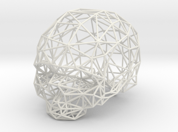 Skull Wireframe in White Natural Versatile Plastic