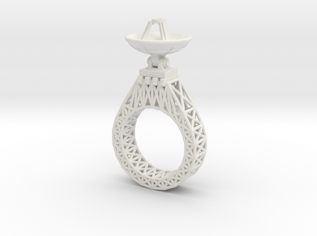 Parabola Ring in White Natural Versatile Plastic