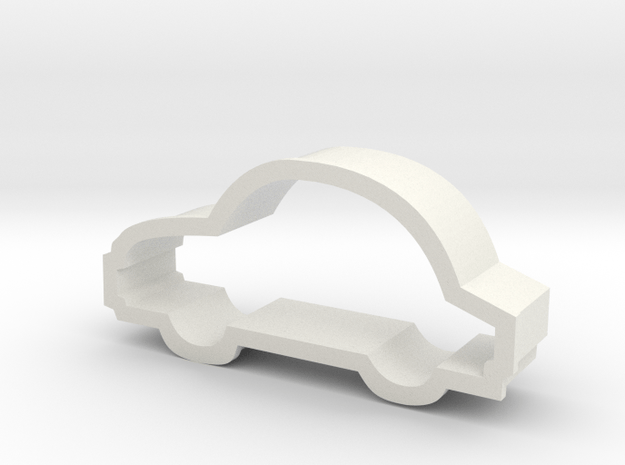 Car Cookie Cutter Like a Bug in White Natural Versatile Plastic