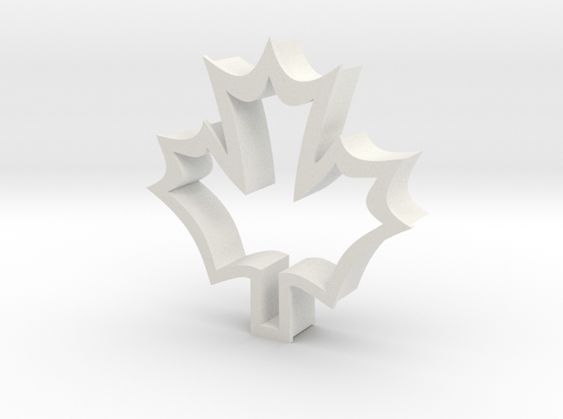 Maple Leaf shaped cookie cuttere in White Natural Versatile Plastic