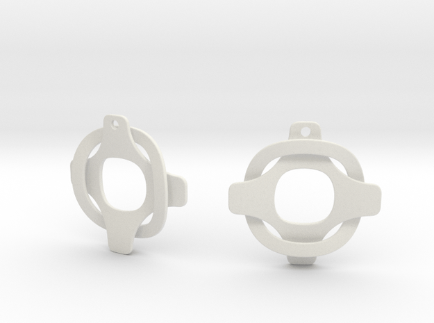 Earrings 2 entwined in White Natural Versatile Plastic