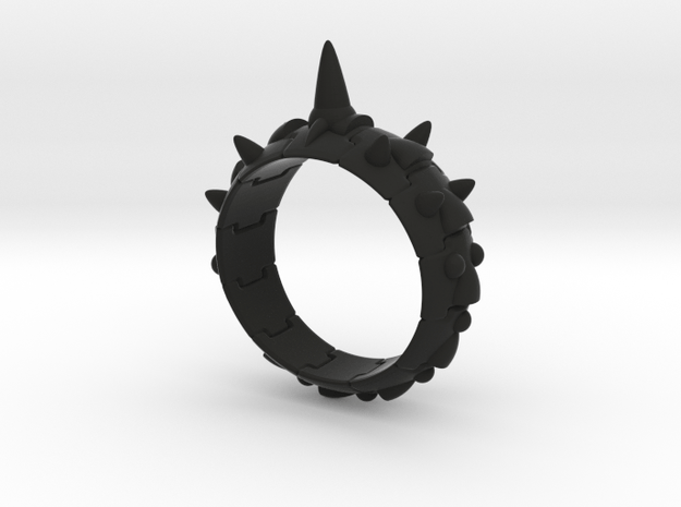 Armor Ring 01(with long spike) in Black Natural Versatile Plastic