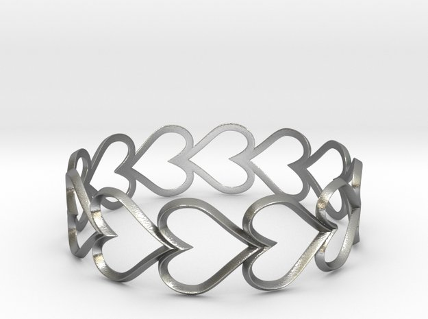 Hearts in Natural Silver