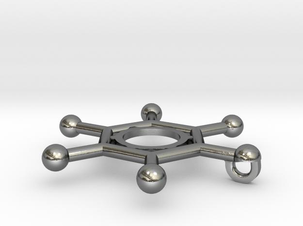 Hexachlorobenzene Chemistry Molecule Pendant in Polished Silver