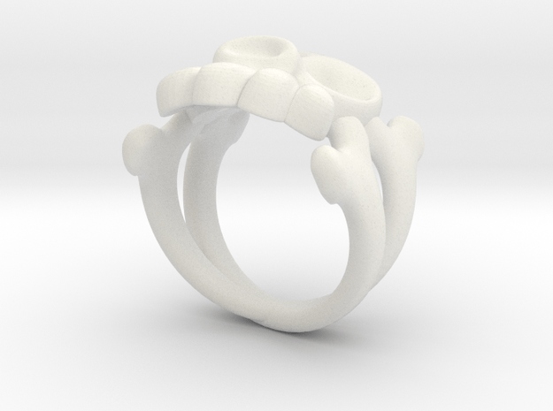 Skull & Crossbones Ring (L)  in White Natural Versatile Plastic