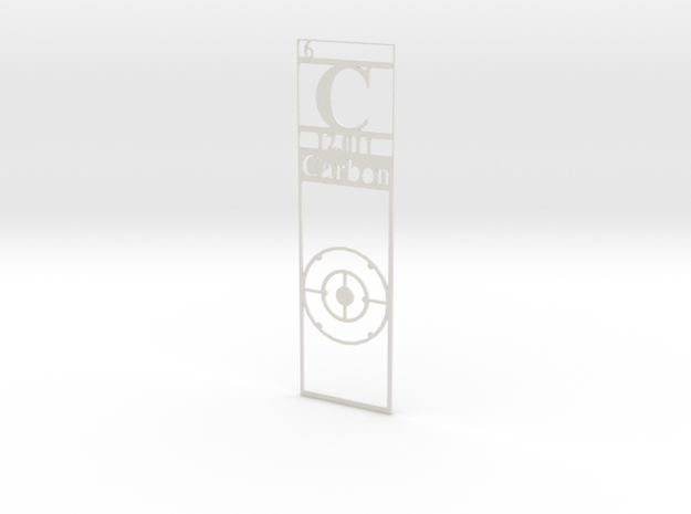 Elemental Bookmark - Carbon customization in White Natural Versatile Plastic