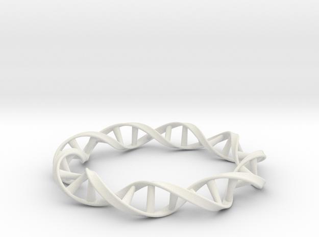 DNA Moebius Bracelet (Small) in White Natural Versatile Plastic