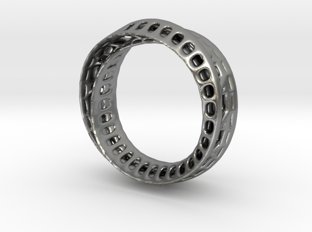 TwistedBond ring - 16mm in Natural Silver