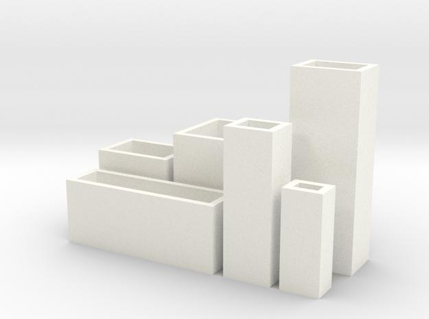 Cityscape 6-piece set of dollhouse vases in White Processed Versatile Plastic