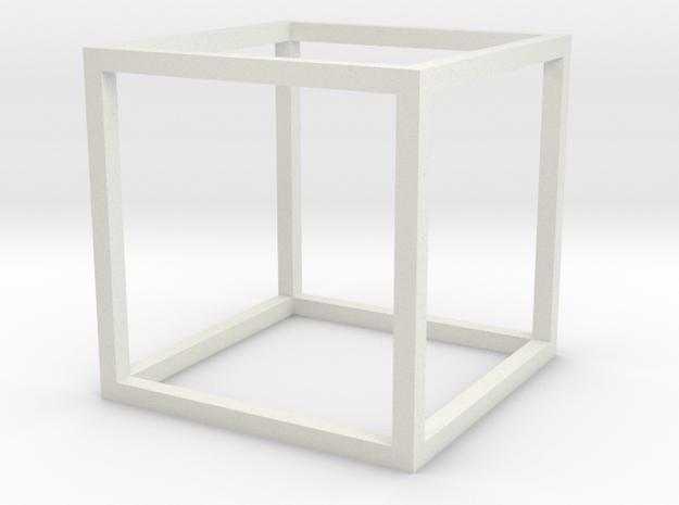 Cube Pendant in White Natural Versatile Plastic