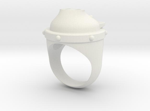 PigRing-01 in White Natural Versatile Plastic