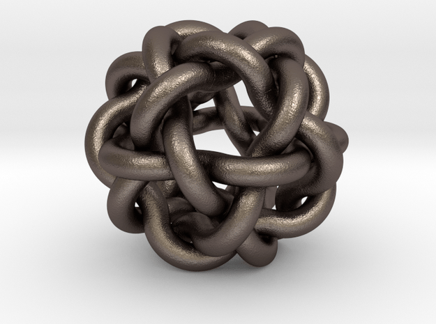 Woven Ball in Polished Bronzed Silver Steel