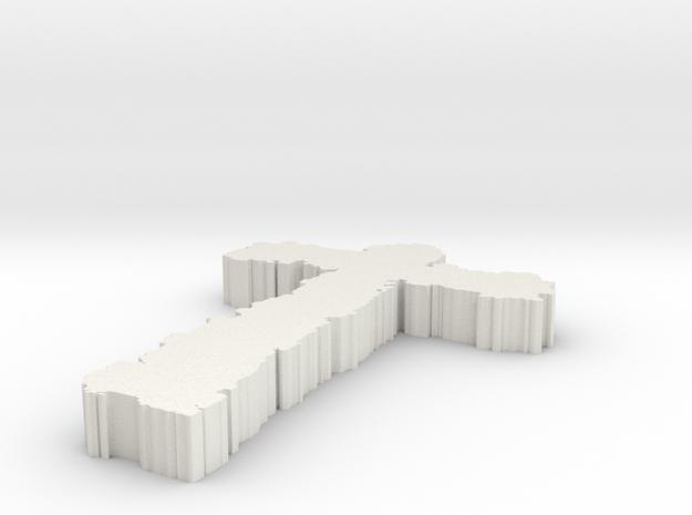 Fuzzy Cross in White Natural Versatile Plastic