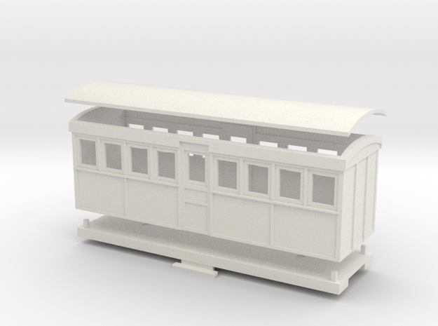 HOn30 20 foot Bogie Tramway Carriage (A) in White Natural Versatile Plastic