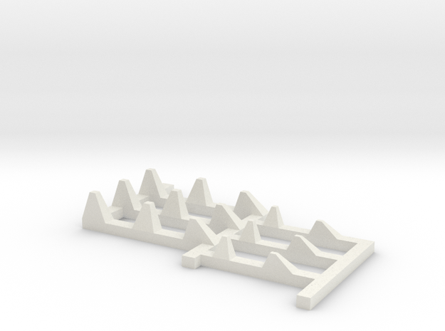 1/144 Type 1 WWII Dragon-Teeth Defense Line in White Natural Versatile Plastic