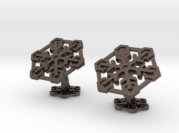 Snowflakes2Cufflinks in Polished Bronzed Silver Steel