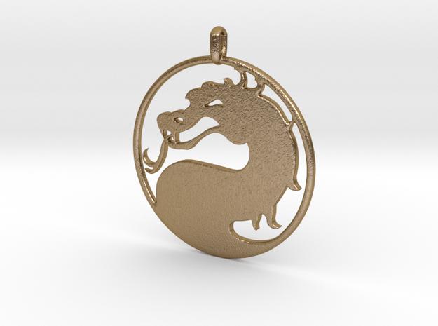 Mortal Kombat Logo - Necklace in Polished Gold Steel