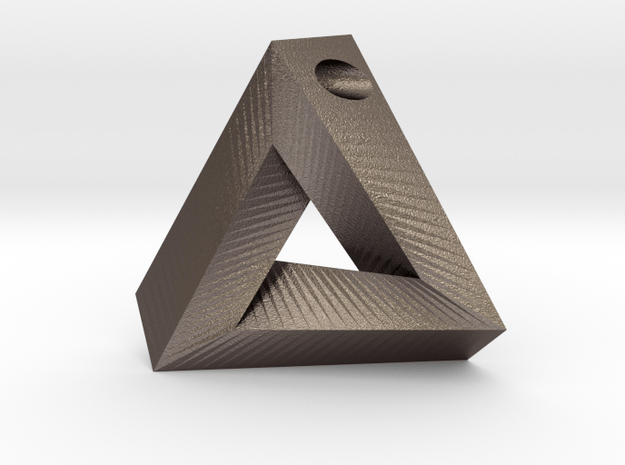 Penrose Triangle - Pendant (3cm   3mm hole) in Polished Bronzed Silver Steel