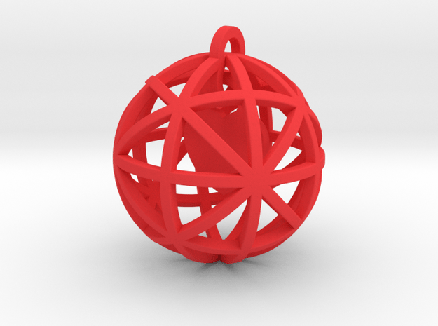 Pendant Heart In A Sphere in Red Processed Versatile Plastic