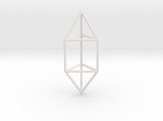 ElongatedTriangularDipyramid 70mm in White Natural Versatile Plastic